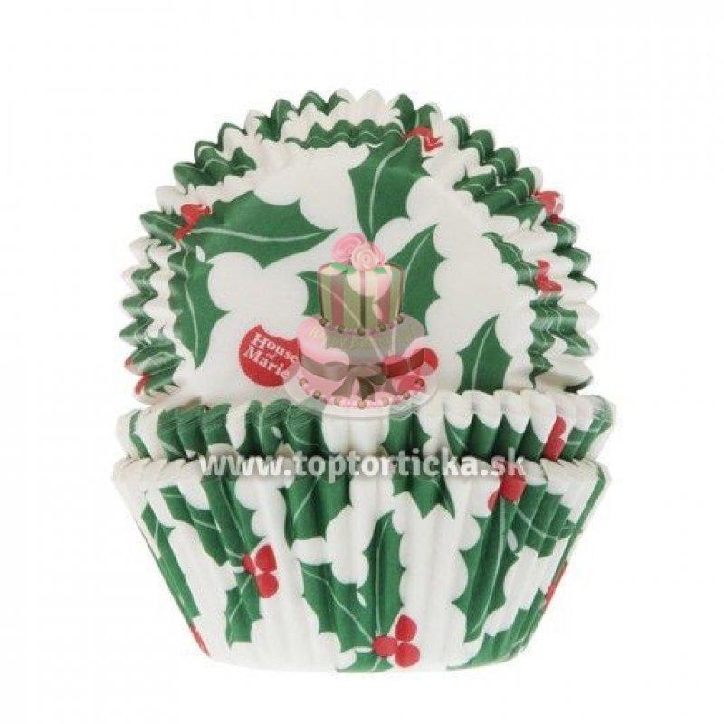 e8836fcb4 HoM Papierové košíčky na muffiny cezmínové listy (Holly Leaf) 50ks ...
